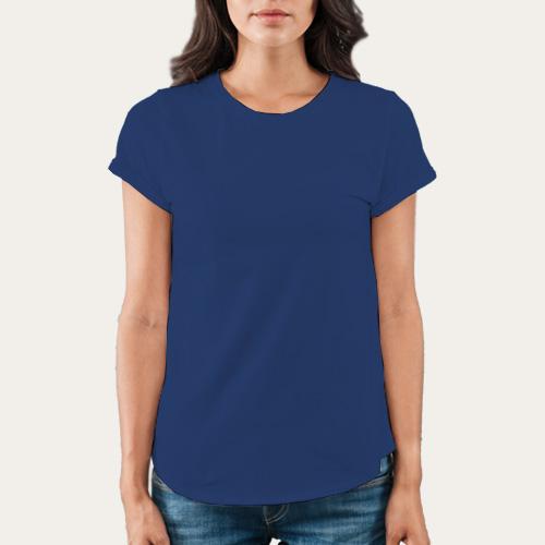 Women Round Neck Half Sleeves Dark Blue image