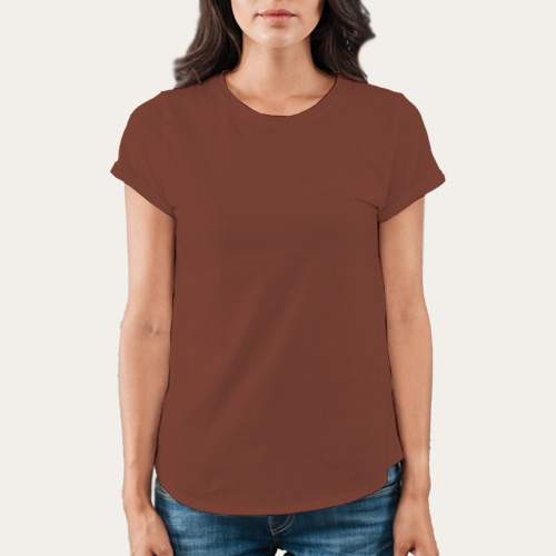 Women Round Neck Half Sleeves Dark Brown image