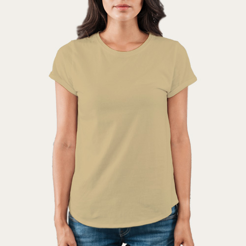 Women Round Neck Half Sleeves Dark Cream image