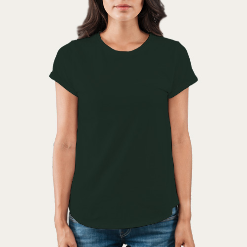 Women Round Neck Half Sleeves Dark Green image