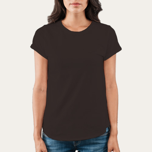 Women Round Neck Half Sleeves Dark Grey image