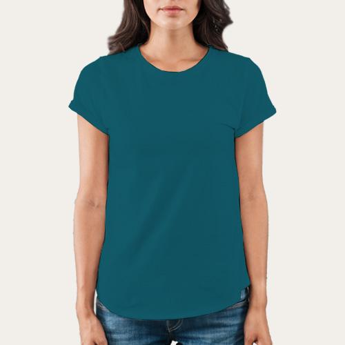 Women Round Neck Half Sleeves Dark Sky Blue image