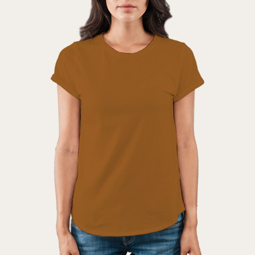 Women Round Neck Half Sleeves Dark Yellow image