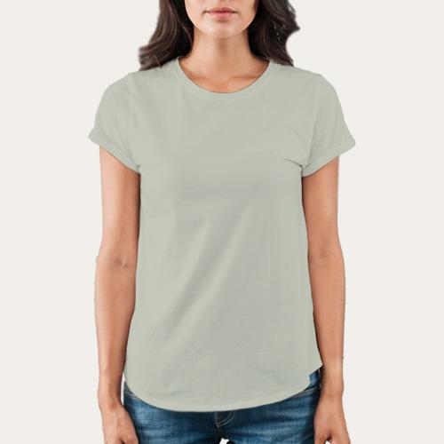 Women Round Neck Half Sleeves Light Grey image