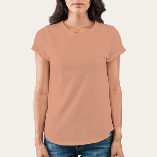 Women Round Neck Half SleevesLight Saffron image