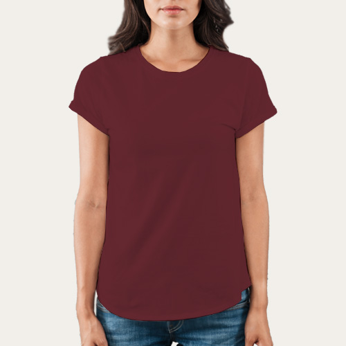 Women Round Neck Half Sleeves Maroon image