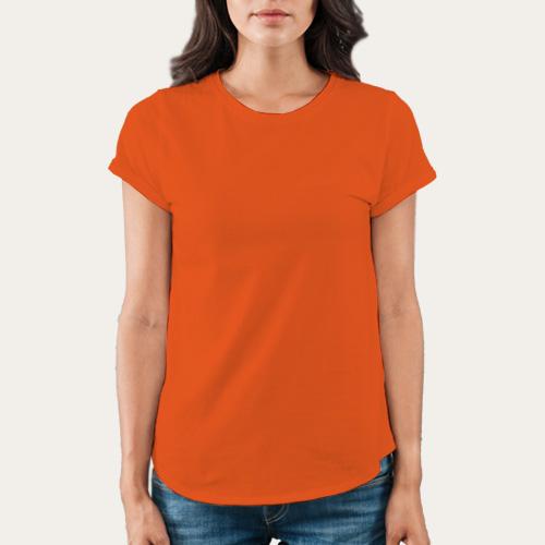 Women Round Neck Half Sleeves Orange image