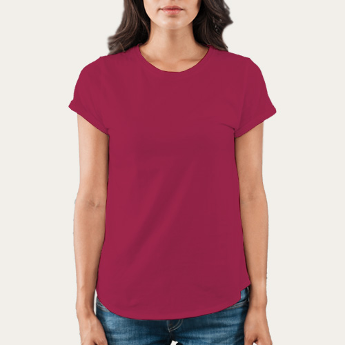 Women Round Neck Half Sleeves Pink image