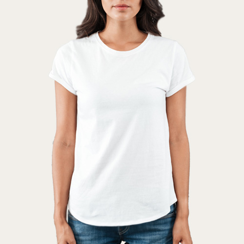 Women Round Neck Half Sleeves White image