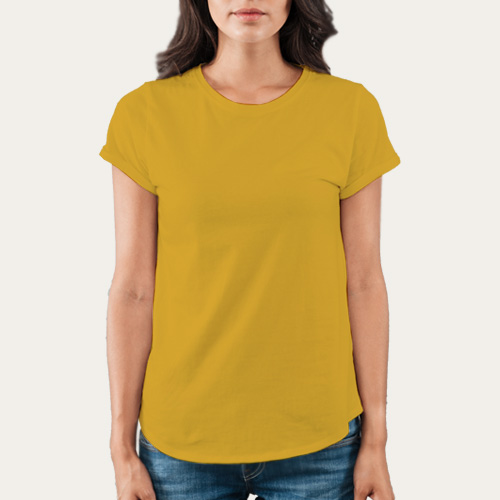 Women Round Neck Half Sleeves Yellow image