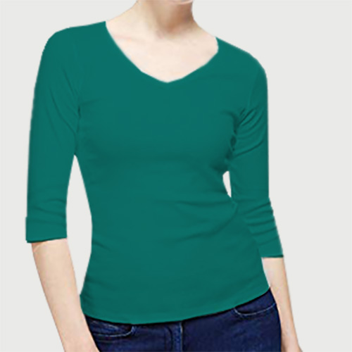Women V Neck Full Sleeves Aquamarine image