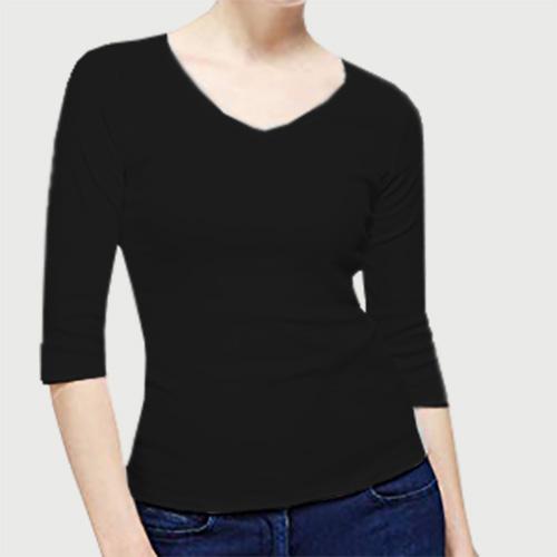 Women V Neck Full Sleeves Black image