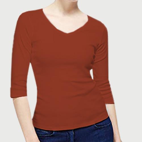 Women V Neck Full Sleeves Brown image