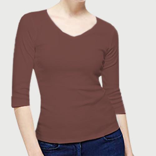 Women V Neck Full Sleeves Coffee image