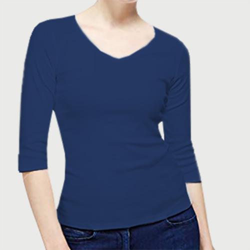 Women V Neck Full Sleeves Dark Blue image