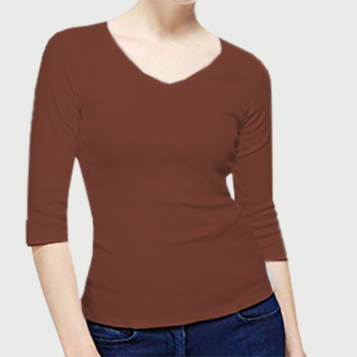 Women V Neck Full Sleeves Dark Brown image