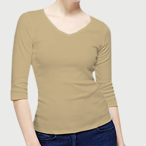 Women V Neck Full Sleeves Dark Cream image