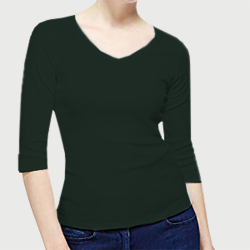 Women V Neck Full Sleeves Dark Green image