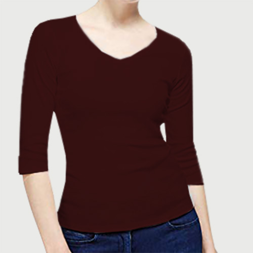 Women V Neck Full SleevesDark Maroon Color image