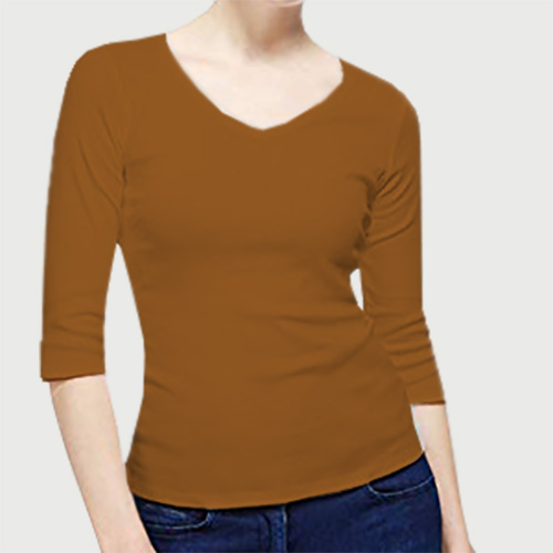 Women V Neck Full Sleeves Dark Yellow image