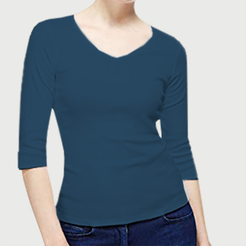 Women V Neck Full Sleeves Deep Sky Blue image