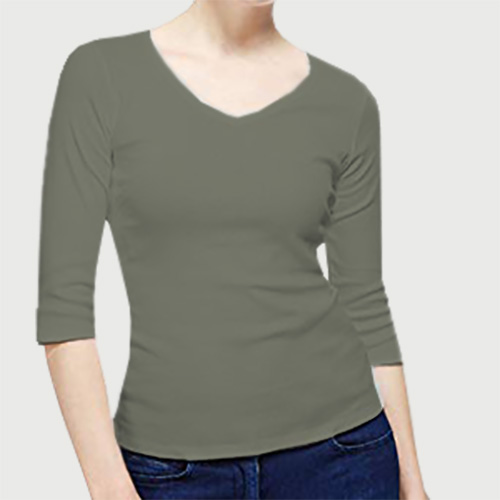 Women V Neck Full Sleeves Dove Grey image