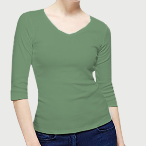 Women V Neck Full Sleeves Green Apple image