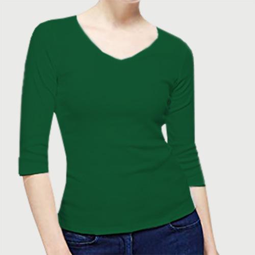 Women V Neck Full Sleeves  Green image