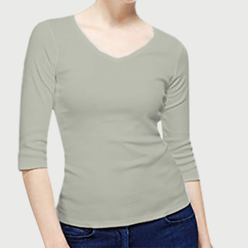 Women V Neck Full Sleeves Light Grey image