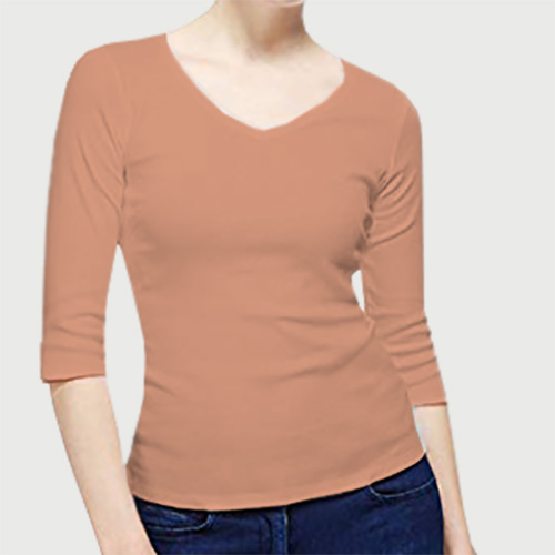 Women V Neck Full SleevesLight Saffron image
