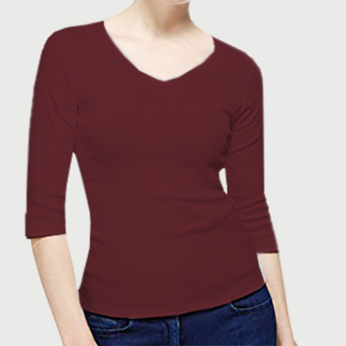 Women V Neck Full Sleeves Maroon image