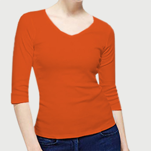 Women V Neck Full Sleeves Orange image