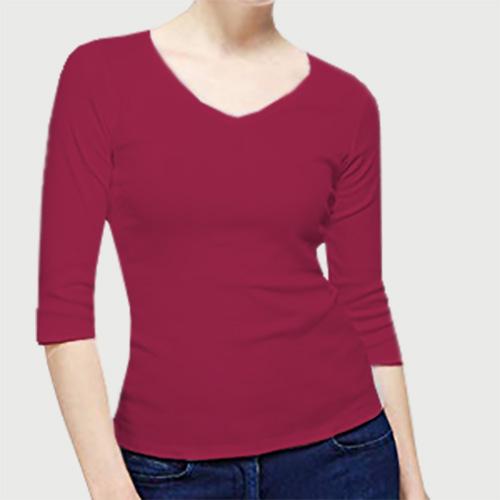Women V Neck Full Sleeves Pink image