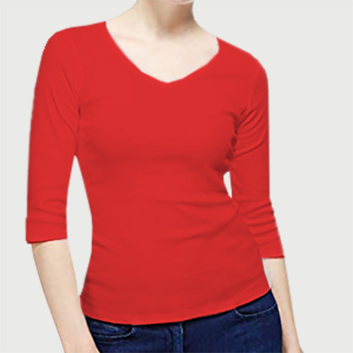Women V Neck Full Sleeves Red image
