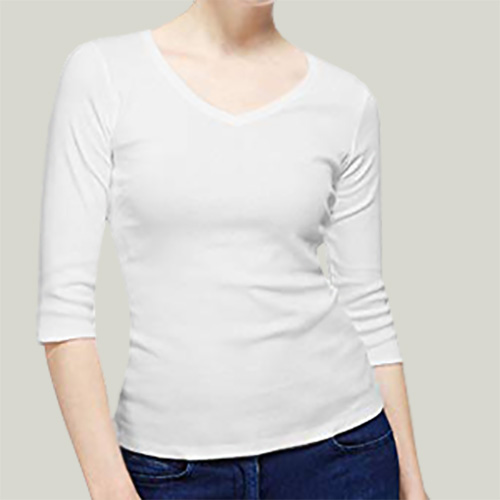 Women V Neck Full Sleeves White image