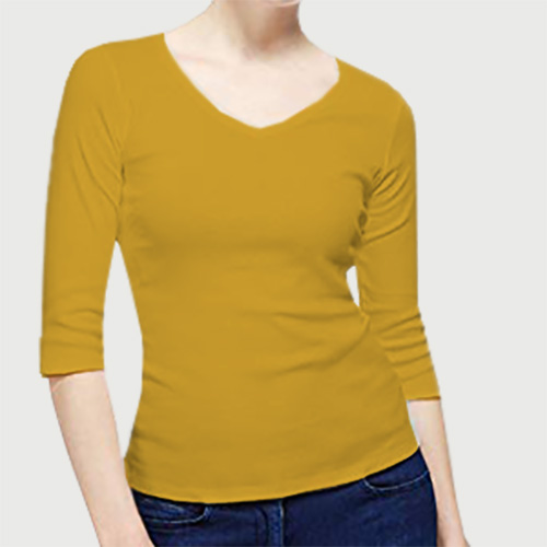 Women V Neck Full Sleeves Yellow image