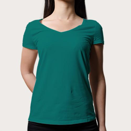 Women V Neck Half Sleeves Aquamarine image