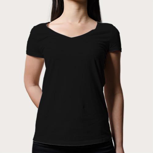 Women V Neck Half Sleeves Black image