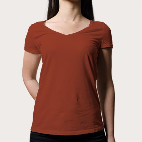 Women V Neck Half Sleeves Brown image