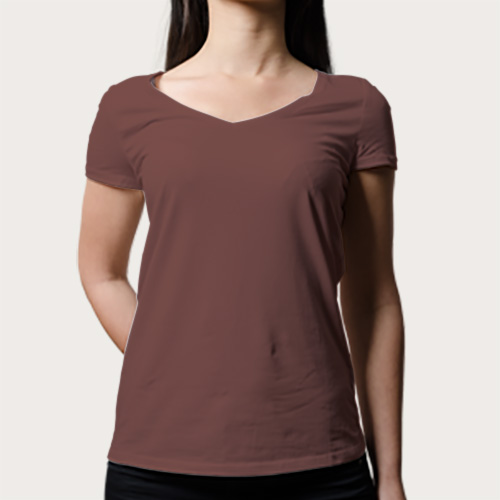 Women V Neck Half Sleeves Coffee image