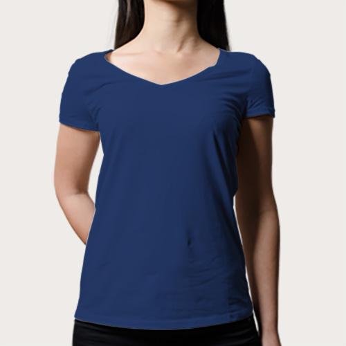 Women V Neck Half Sleeves Dark Blue image