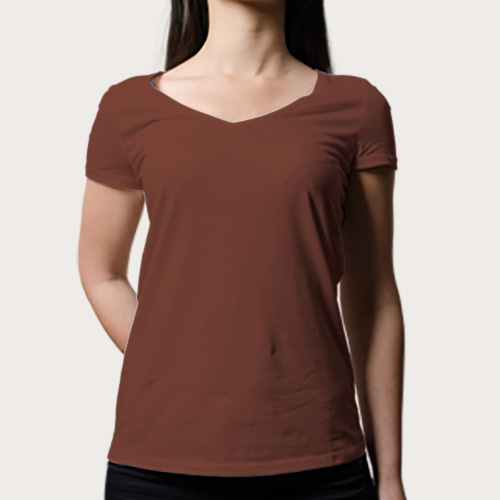 Women V Neck Half Sleeves Dark Brown image