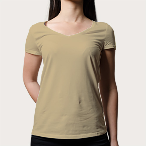 Women V Neck Half Sleeves Dark Cream image