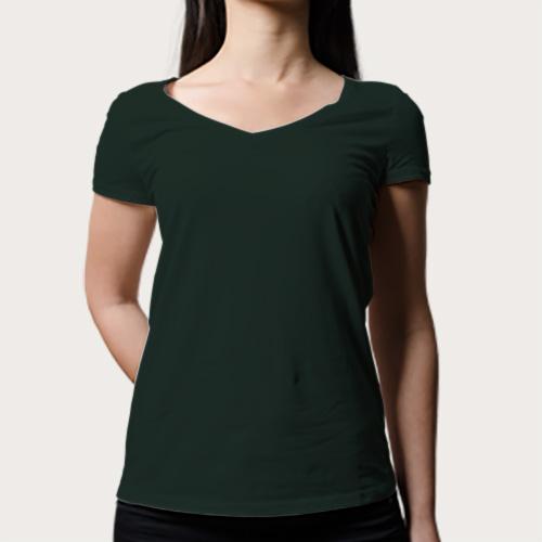 Women V Neck Half Sleeves Dark Green image