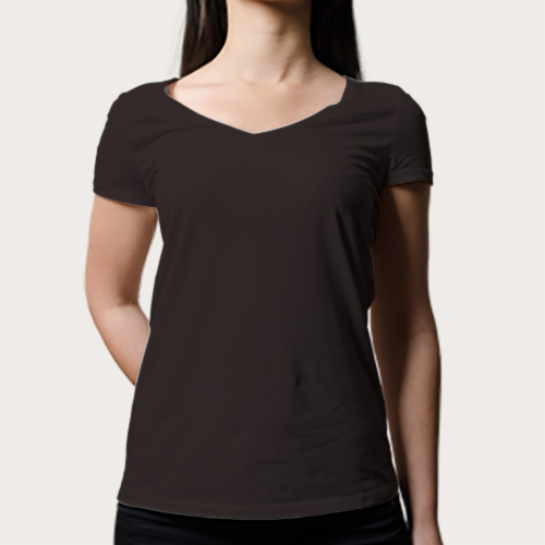 Women V Neck Half Sleeves Dark Grey image