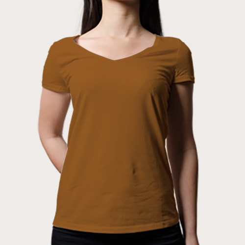 Women V Neck Half Sleeves Dark Yellow image