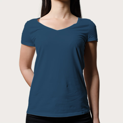 Women V Neck Half Sleeves Deep Sky Blue image