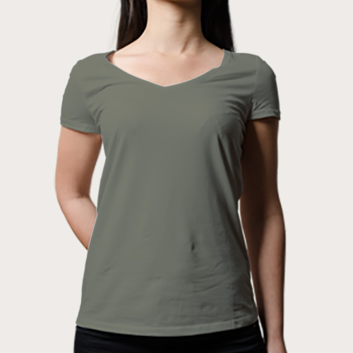 Women V Neck Half Sleeves Dove Grey image
