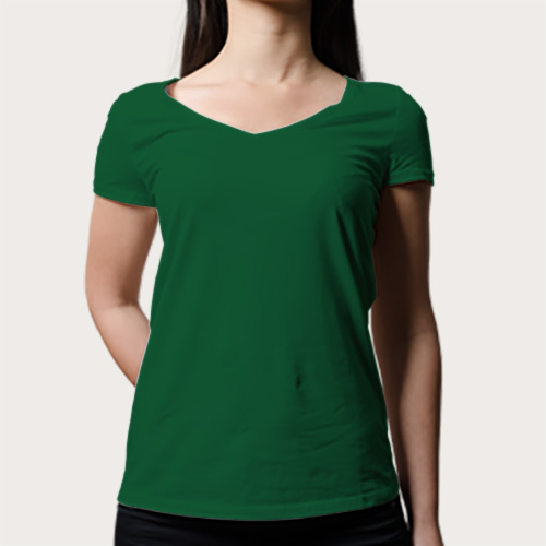 Women V Neck Half Sleeves  Green image