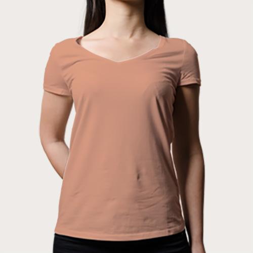 Women V Neck Half SleevesLight Saffron image